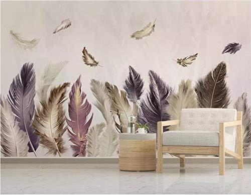Hhcyy 3D Tapete Benutzerdefinierte 3D Fototapete Bett Zimmer Wandbild Vereinfacht Farbe Feder Foto Malerei Sofa Tv Hintergrund Wandtapete Für Wand 3D-400Cmx280Cm