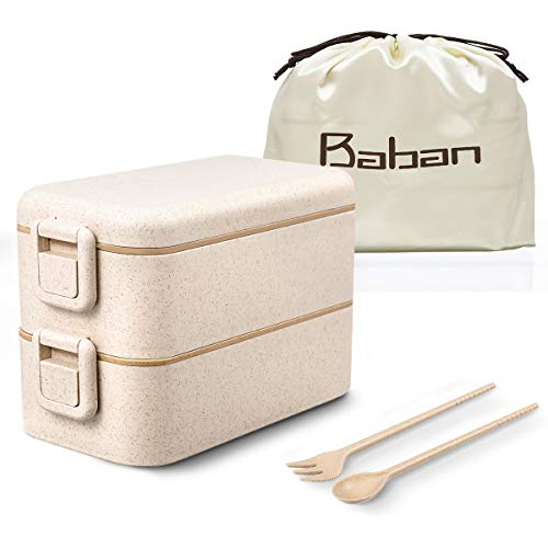 Baban Lunch Box Sécurité Boîte Bento avec 2 Couverts Solides avec Boucle 800ml Hermétique Passe Au Micro-Ondes Et Au Lave-Vaisselle sans BPA Marque Déposée