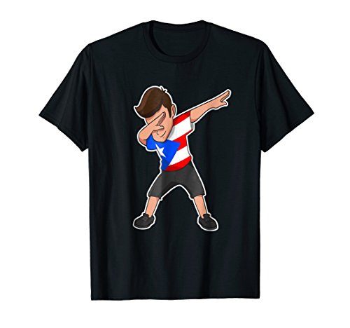 Dabbing Boy Puerto Rico T-Shirt Puerto Rican Flag Tee Shirt
