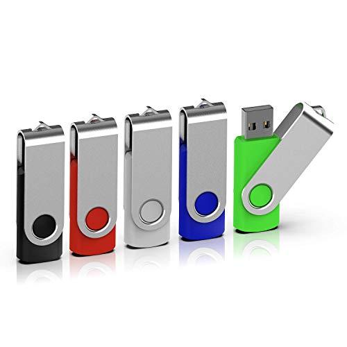 TOPESEL 5 Stück USB-Stick 8GB Memory Sticks USB 2.0 Speicherstick USB-Flash-Laufwerk Flash Drive 360° Drehbar Design mit Metalldeckel Bunt Schwarz, Silber, Blau, Grün, Rot