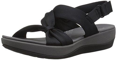 Clarks Women's Arla Primrose Sandal, Black Fabric, 9 Medium US