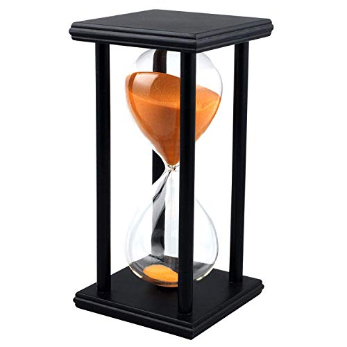 Lodunsyr Sanduhr 60 Minuten Timer Sanduhr für Ornament Restaurant Wohnzimmer Zuhause Wandschrank Büro Schreibtisch Schlafzimmer Party Festival Weihnachten Hölzern Rahmen Sanduhr Uhr Dekoration Orange
