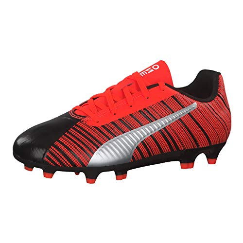 PUMA One 5.4 FG/AG Jr, Botas de fútbol Unisex Niños, Black-Nrgy Red Aged Silver, 37.5 EU