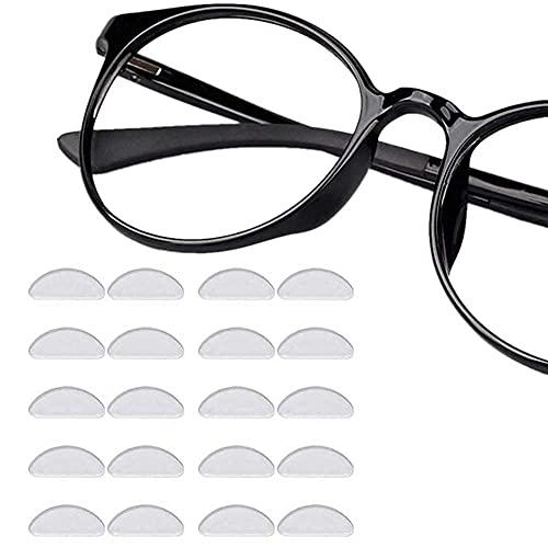 Naselli per occhiali autoadesivi, 12paia di bastone morbido silicone antiscivolo cuscinetti in gel trasparente 1mm monocolo pastiglie per porta occhiali da sole prime