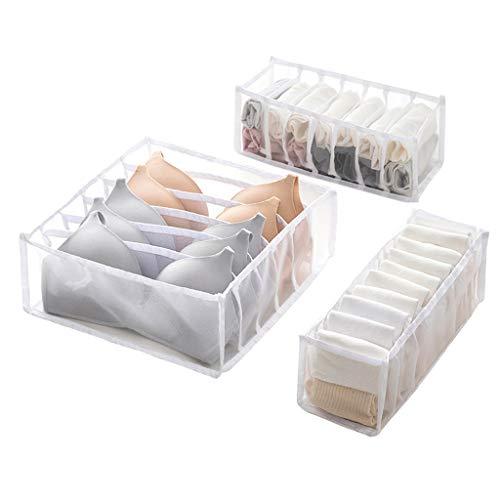 Fship Socks Storage Box Compartment Foldable Underwear Storage Box, There are 6/7/11 Compartment Nylon Compartments, Can Hold Socks, Bras, Underwear, Storage Box (White)