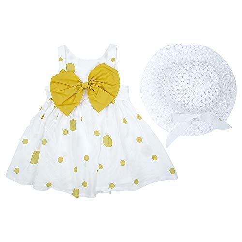 Baby meisjes zomerjurk bowknot ruches sling rok zuigeling tule zomerjurk kleine kinderen beachwear kleding met hoed 90 geel