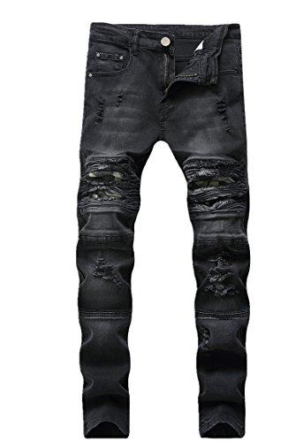 Men's Fashion Skinny Fit Ripped Distressed Camo Patched Stretch Denim Biker Jeans,Black,32
