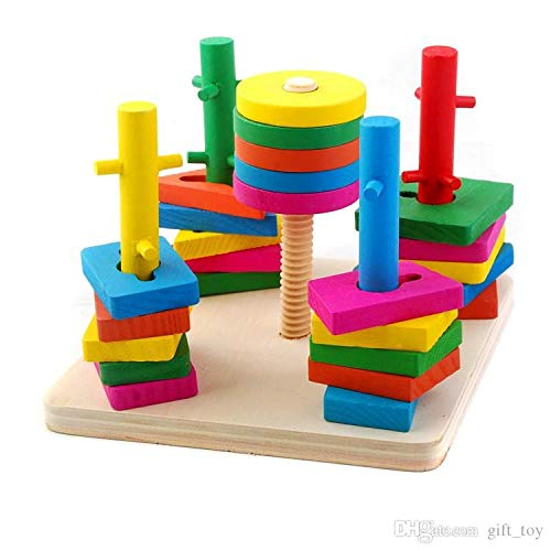 Wooden Intellectual Geometric Shape Matching Five Column Blocks Early Educational & Learning Toys,Wooden Geometric Shape Sorter Puzzle