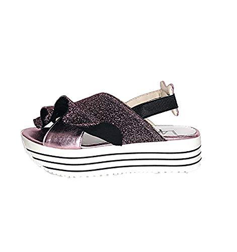 L4K3 62 SAB - Sandal Nocturn Sandalo Donna Effetto Glitter e Pelle Metallizzata (37 - Pink)