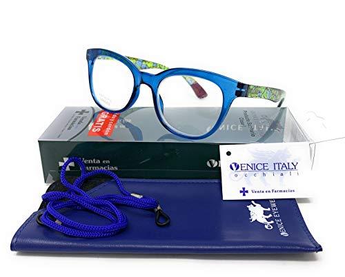 Gafas de lectura, presbicia, vista cansada, Diseño en 4 Colores. VENICE KATERINE - Dioptrías: 1 a 3,5 (Azul, +1,50)