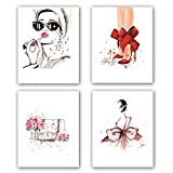 "Fashion Women Art Print Set Of 4 (8""X10"")Minimalist Makeup Art, Fashion Lipstick, Red High heels, Handbag Printing for Women Gifts, Vogue Canvas Wall Art Poster For Girls Room decor, No Frame"
