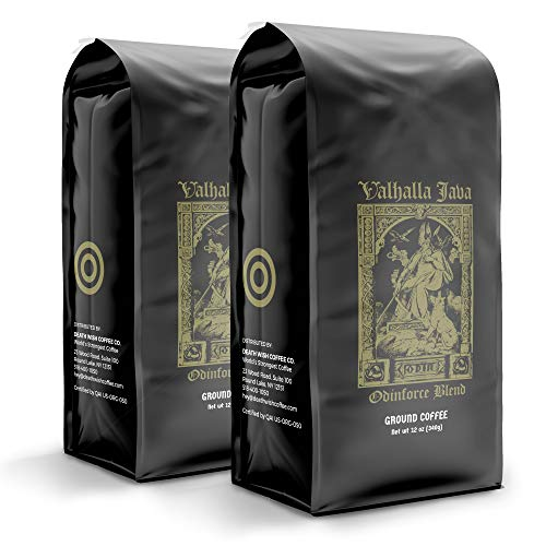 VALHALLA JAVA Bagged Coffee Grounds [12 Oz.] World's Strongest Coffee, USDA Certified Organic, Arabica, Robusta (2-Pack)