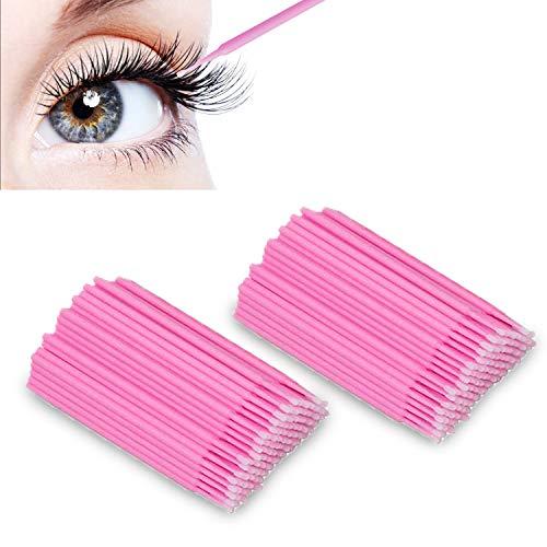 LATTCURE Einweg Wattestäbchen Microbürsten Reinigungsstäbchen Wimpernbuerste Applikatoren Microbrush, Minipinsel für Makeup Zahn und Mundpflege Wimpernverlängerung (ROSA)
