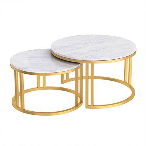 WSHFHDLC Couchtisch, runde Beistelltische, Couchtisch, Marmor-Tischplatte und Metallbeine, stapelbare Beistelltische für Wohnzimmer, Schlafzimmer, Balkon, kleine Kaffeetische