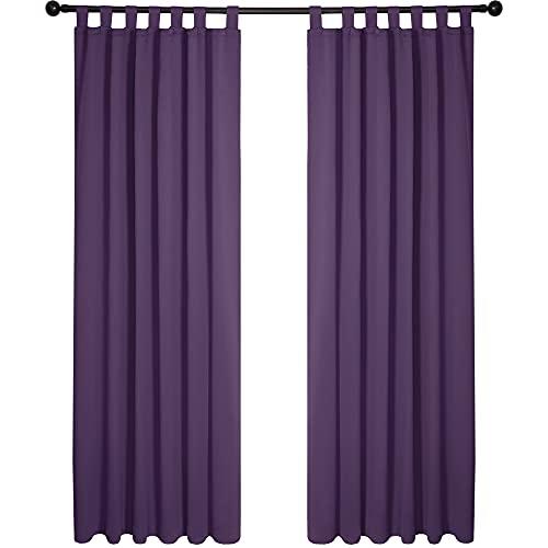 Deconovo Cortinas Opacas de Salón Dormitorio Infantil Moderno Aislantes Luz con Trabillas 2 Piezas 140 x 290 cm Púrpura Oscuro