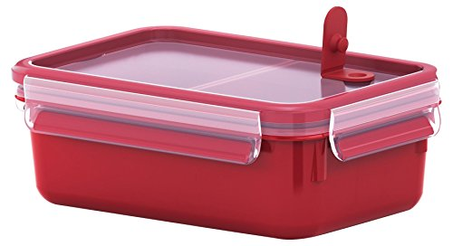 Tefal Master Seal Micro Rectangle Food Storage with Inserts, Red/Clear, 1 Litre