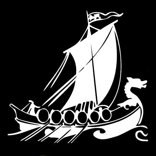 DSRLO Autocollant de Voiture 20 CM * 18.8 CM Dragon Head Viking Ship Intéressant Vinyle Stickers Autocollants De Voiture Noir/Argent Accessoires De Voiture