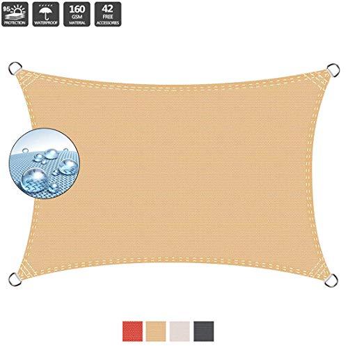 pequeño y compacto Cubierta de lona de tela para techos de vela en forma de 2x5m con 95% de protección UV, techado impermeable IKEA,…