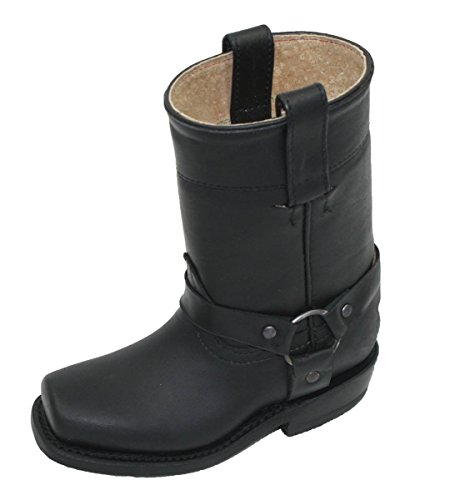 Unisex Kids Genuine Soft Cow Hide Black Leather Motorcycle Harness Boots_Kids_11
