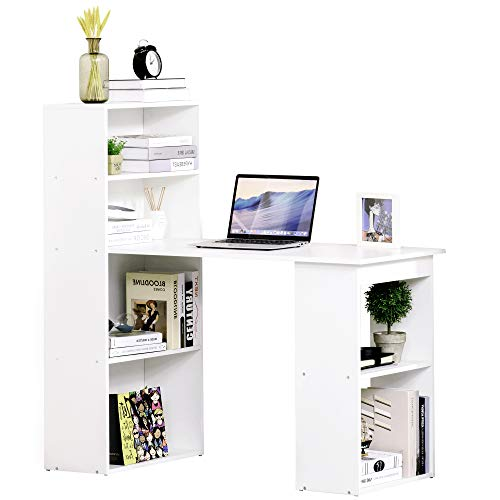 HOMCOM Mesa con Estantería Reversible Mesa de Ordenador para Hogar Oficina Escuela 120x55x120cm Blanco