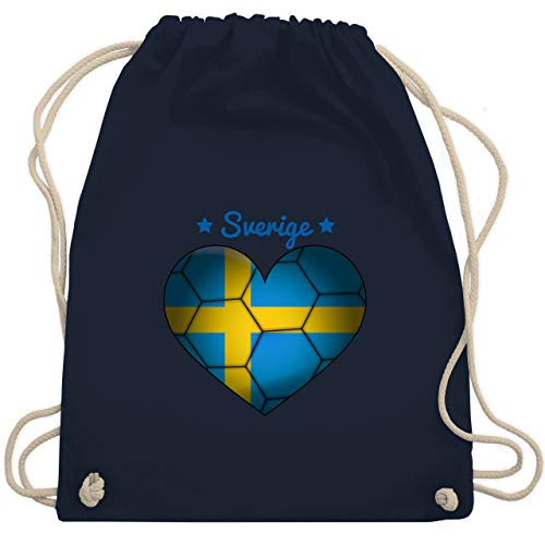 Shirtracer Handball - Handballherz Schweden - Unisize - Navy Blau - schweden handball - WM110 - Turnbeutel und Stoffbeutel aus Baumwolle