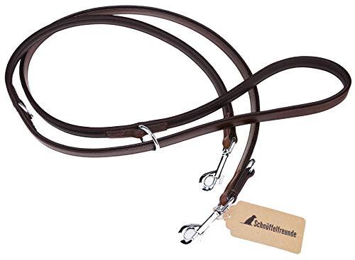 Schnüffelfreunde Hundeleine aus Leder - Trainingsleine - Lederleine für den Hund - Leine 3-Fach verstellbar, für alle Hunde (230cm, Braun)