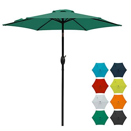 SUNVIVI OUTDOOR 7.5 Ft Patio Umbrella Outdoor Market Table Umbrella with Crank, 6 Ribs, Polyester Canopy, Dark Green