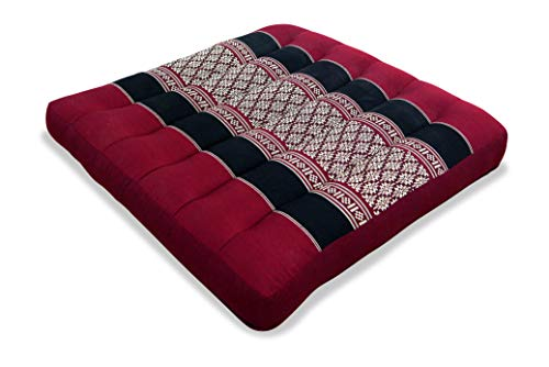 livasia Kapok Sitzkissen 35x35x6,5cm der Marke, optimal als Stuhlauflage oder Meditationskissen, Bodenkissen BZW. Stuhlkissen (rot/schwarz/Muster)