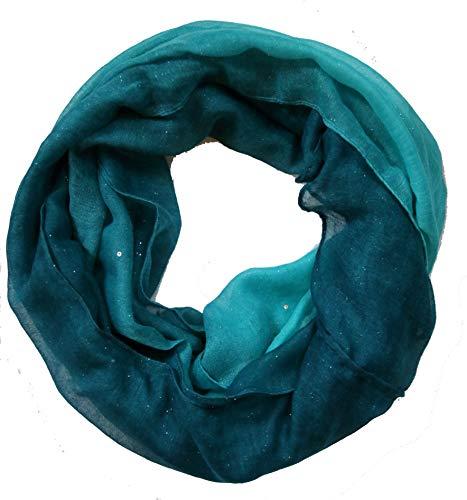 Accires Silber Glitzer Damen batik Loop Schal (türkis)
