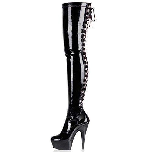 Higher-Heels PleaserUSA Overknee-Stiefel Delight-3063 Lack schwarz Gr. 45