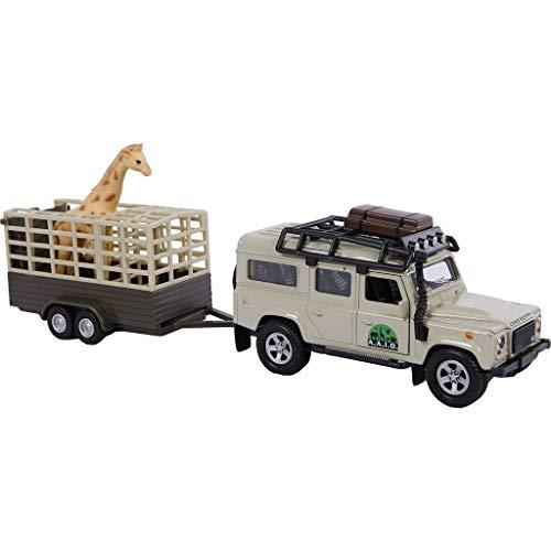 Van Manen Kids Globe Traffic Die Cast \'Landrover Defender\' (Pull back, Giraffe Anhänger) - 521723
