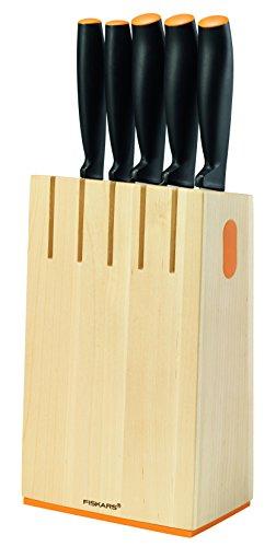 Fiskars Design-Messerblock mit 5 Messern, Breite: 14,5 cm, Höhe: 36 cm, Birkenholz, Functional Form, 1014211