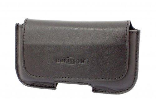 HERISSON Echtleder Quertasche Hülle Schutzhülle Schutztasche Tasche aus Leder Ledertasche Lederhülle für Gürtel für Nokia Lumia 1320, 1520, Gürtelschlaufe, schwarz