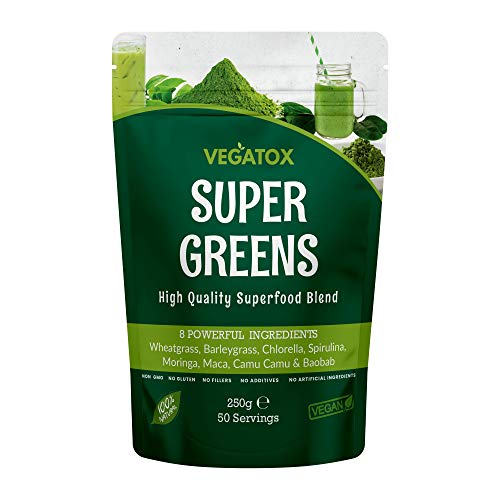 Super Greens Powder 250g | Ultimate Immune Support | Green Powder Superfood for Immunity, Energy and Detox | Vegan, 100% Natural & Alkaline | No Additives, No GMO, No Gluten, No Fillers | 50 Servings