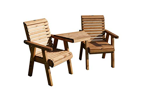 Spear & Jackson Wooden Love Seat, Brown