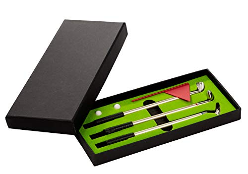 Juvale Mini Golf Set - Desktop Golf Set met 3 Ballpoint Golf Club Pennen, Golf Ballen, Vlag en Putting Green