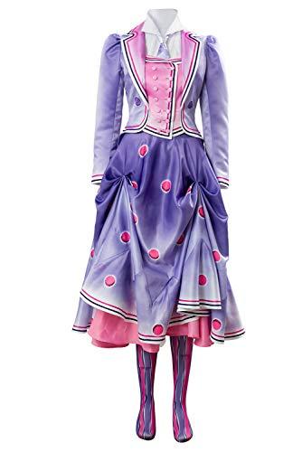 lancoszp Mujer Disfraz de Cosplay de Mary Jane Banks Pelicula Musical Cosplay Vestido Chaqueta Pintado a Mano Disfraz de Ninera Victoriana, S