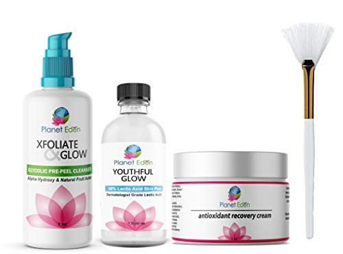 Planet Eden 88% Lactic Acid Chemical Skin Peel Kit with Glycolic Acid Pre-Peel Cleanser + Antioxidant Recovery Cream + Treatment Fan Brush