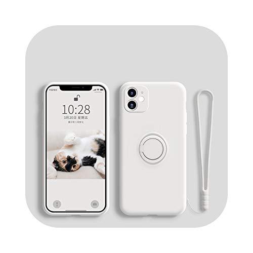 Funda de silicona líquida para iPhone 12 11 Pro Max Mini protector de carcasa para iPhone 11pro XS Max XR X 7 8 6S 6 Plus SE 2020 cubierta de correa blanca-para iPhone 8 Plus