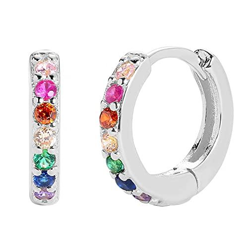 Owenqian Pendientes de Plata de Ley 925 para Mujer, Pendientes de Aros de arcoíris de Cristal Deslumbrante, joyería de Boda