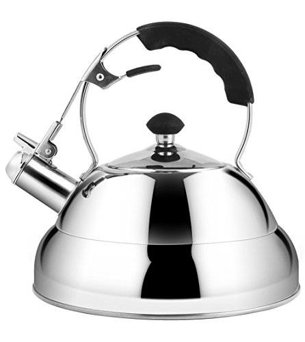 Rorence Stainless Steel Whistling Tea Kettle for Stovetop with Heat Resistant Handle 27 Quart