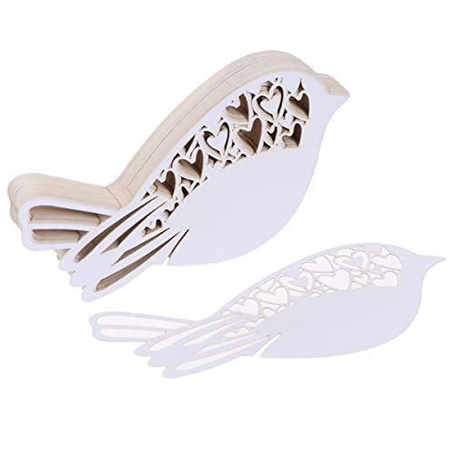 WINOMO 50pcs Wedding Table Decor Name Place Cards - Ivory Laser Cut Heart Love Bird