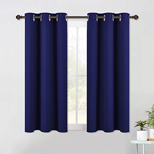 NICETOWN Living Room Blackout Curtain Panels, Window Treatment Energy Saving Thermal Insulated Solid Grommet Blackout Drapes/Draperies (1 Pair, 42 by 54-Inch, Navy Blue)