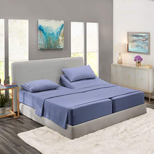 Nestl Bedding Soft Sheets Set – 5 Piece Bed Sheet Set, 3-Line Design Pillowcases – Wrinkle Free – 2 Fit Deep Pocket Fitted Sheets – Free Warranty Included – Split King, Steel Blue
