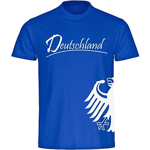T-Shirt Deutschland Trikot Adler seitlich Herren blau Gr. S - 3XL - Fanshirt Fanartikel Fanshop Trikot Fußball EM WM Germany,Größe:XL,Farbe:blau