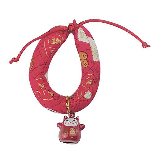 KingbeefLIU Collar para Mascotas Pet Cat Dog Charm Colgante Campana Cachorro Bufanda Collar Correa para El Cuello para Animales Pequeños Rojo S