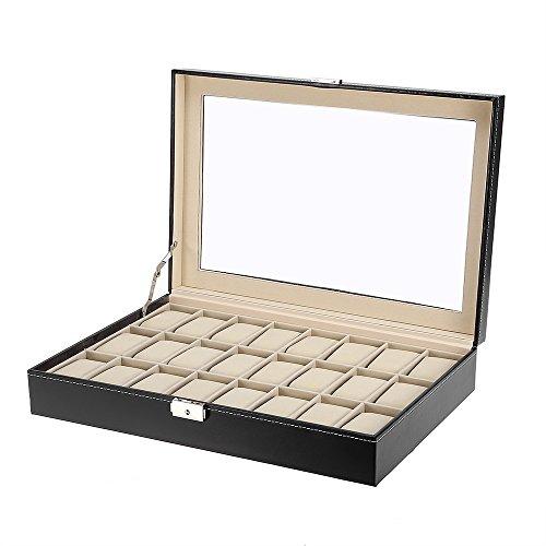 Mbuynow Uhrenbox 24 Uhren Uhrenkoffer Herren Uhrenbox Damen Uhrenkasten Herren Uhrenvitrine abschließbar für 24 Uhren aus kunstleather