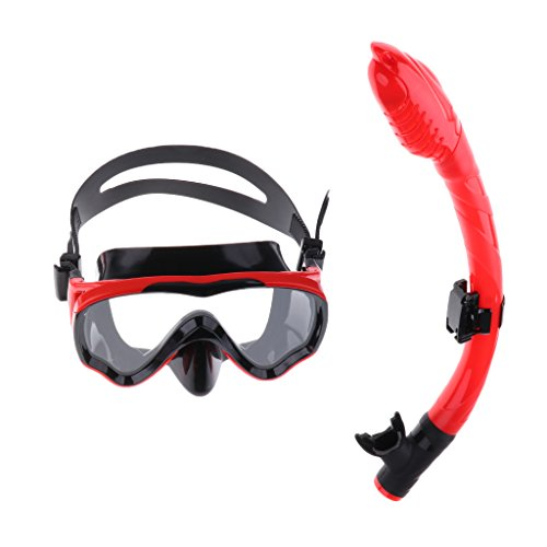 T TOOYFUL Kids Children's Scuba Diving Training Mask & Snorkel Set - Negro y Rojo