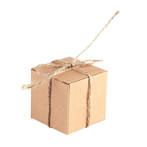 TOPINCN Kraft Papier Box 50 Stks Bruin Gerecycled Geschenk Vierkant Bruiloft Favor Snoep Chocolade Kraft Party Supply Boxen