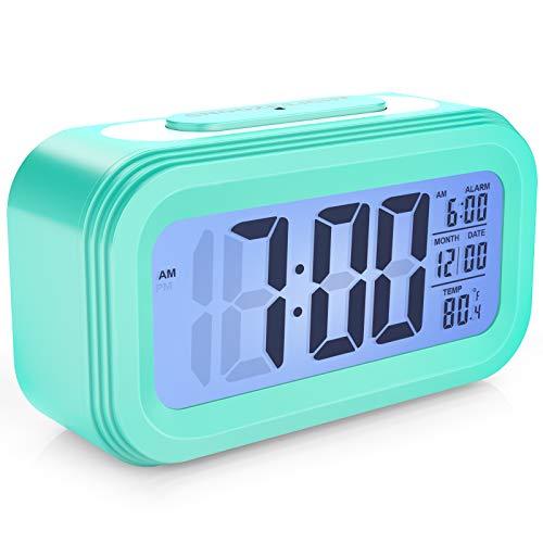 Enllonish Smart Digital Wecker Snooze 5 Minuten, Digital-Wecker mit Extra großem Display, Snooze, Datumsanzeige, Temperatur, Reiseuhr für Kinder Studenten und Erwachsene - Blau